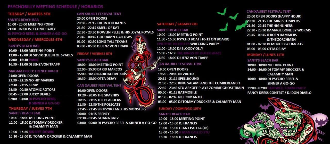 Psychobilly Meeting Pineda 2016 Timetable